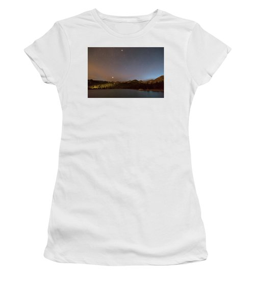 Women's T-Shirt (Athletic Fit) featuring the photograph Colorado Indian Peaks Stellar Night by James BO Insogna