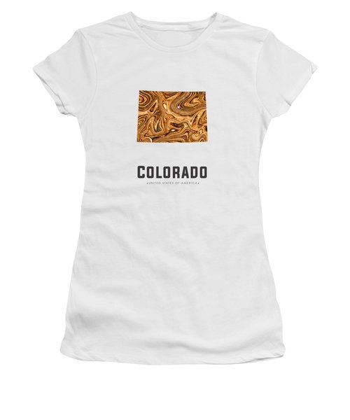 Colorado Map Art Abstract In Brown Women's T-Shirt