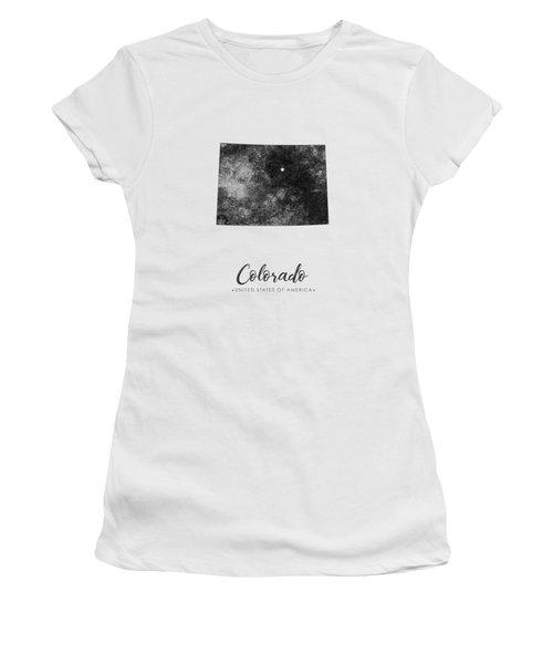 Colorado State Map Art - Grunge Silhouette Women's T-Shirt