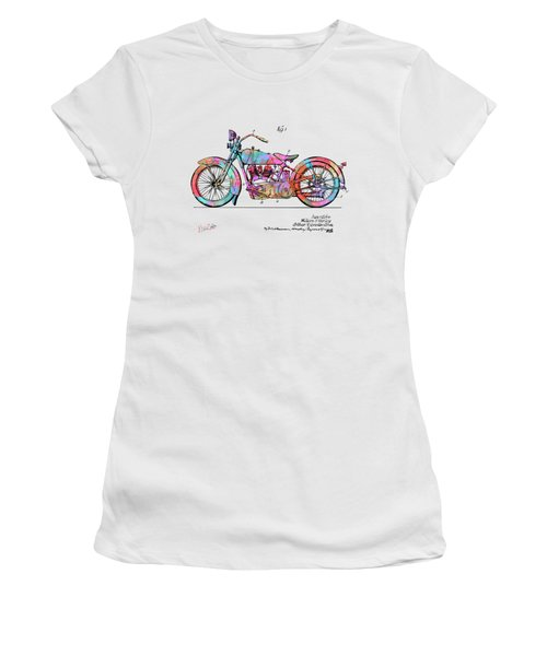 Colorful 1928 Harley Motorcycle Patent Artwork Women's T-Shirt