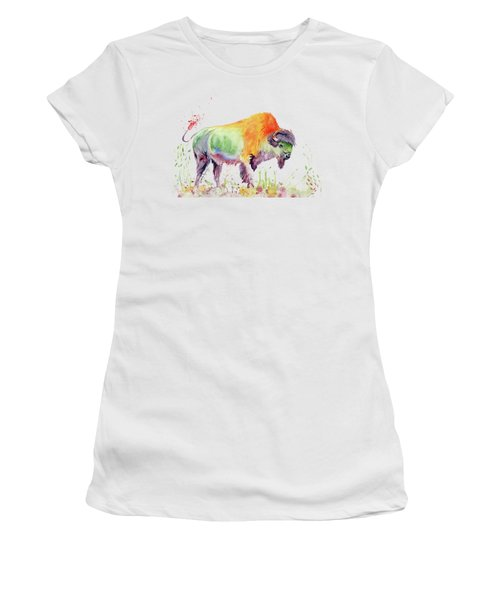 Colorful American Buffalo Women's T-Shirt (Junior Cut) by Melly Terpening