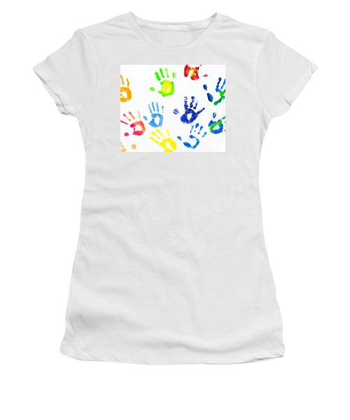 Women's T-Shirt (Junior Cut) featuring the photograph Colorful Arm Prints Abstract by Jenny Rainbow
