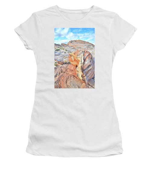Colorful Boulder At Valley Of Fire Women's T-Shirt (Junior Cut) by Ray Mathis