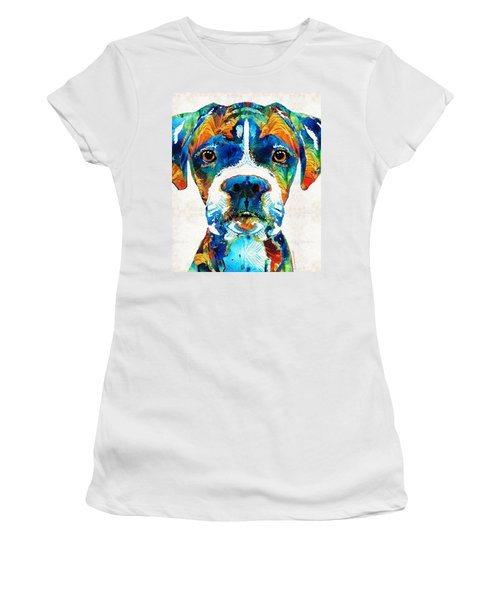 Colorful Boxer Dog Art By Sharon Cummings  Women's T-Shirt