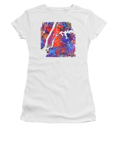 Colorful Cities - City Map New York  Women's T-Shirt