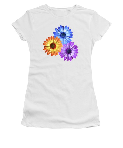 Colorful Daisies With Water Drops On White Women's T-Shirt (Athletic Fit)