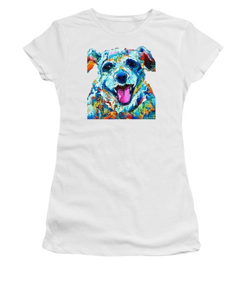 Colorful Dog Art - Smile - By Sharon Cummings Women's T-Shirt