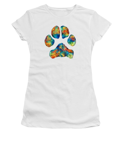 Colorful Dog Paw Print By Sharon Cummings Women's T-Shirt (Athletic Fit)
