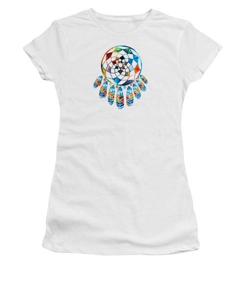 Colorful Dream Catcher By Sharon Cummings Women's T-Shirt (Junior Cut) by Sharon Cummings