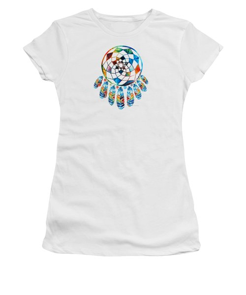 Colorful Dream Catcher By Sharon Cummings Women's T-Shirt (Athletic Fit)