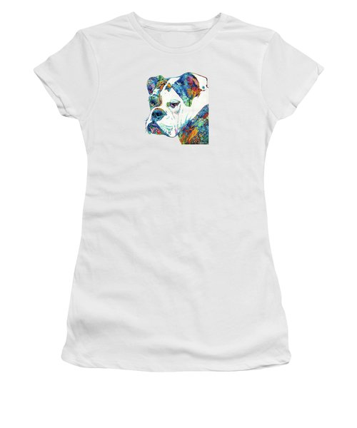 Colorful English Bulldog Art By Sharon Cummings Women's T-Shirt