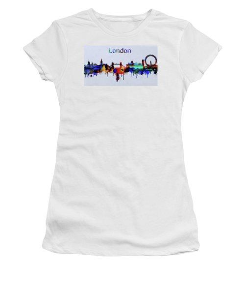 Colorful London Skyline Silhouette Women's T-Shirt (Junior Cut) by Dan Sproul
