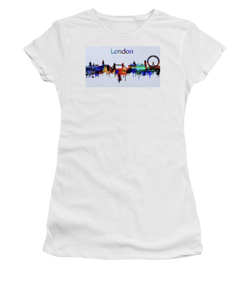 Colorful London Skyline Silhouette Women's T-Shirt (Athletic Fit)