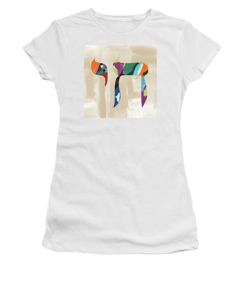 Women's T-Shirt featuring the mixed media Colorful Painting Chai- Art By Linda Woods by Linda Woods