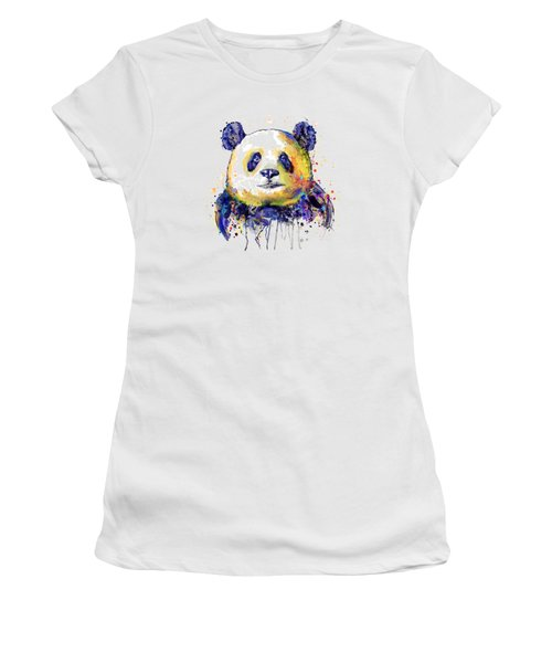 Women's T-Shirt (Junior Cut) featuring the mixed media Colorful Panda Head by Marian Voicu