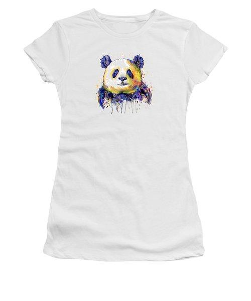 Colorful Panda Head Women's T-Shirt