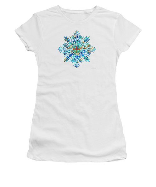 Women's T-Shirt (Junior Cut) featuring the painting Colorful Pattern Art - Color Fusion Design 5 By Sharon Cummings by Sharon Cummings