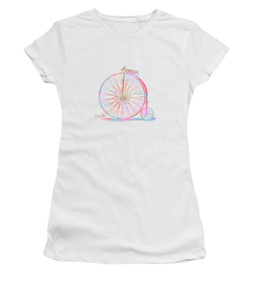 Colorful Penny-farthing 1867 High Wheeler Bicycle Women's T-Shirt