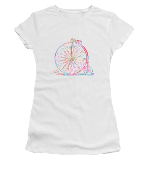 Colorful Penny-farthing 1867 High Wheeler Bicycle Women's T-Shirt (Athletic Fit)