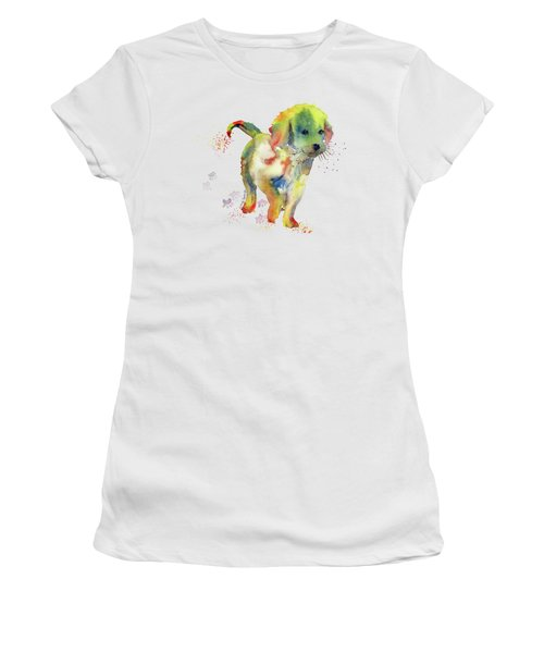 Colorful Puppy Watercolor - Little Friend Women's T-Shirt (Junior Cut) by Melly Terpening