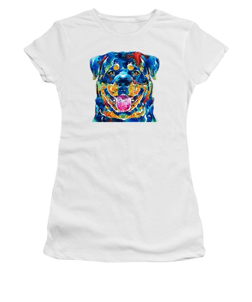 Colorful Rottie Art - Rottweiler By Sharon Cummings Women's T-Shirt