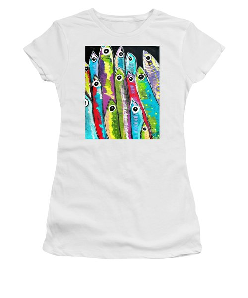 Colorful Sardines Women's T-Shirt (Junior Cut) by Scott D Van Osdol