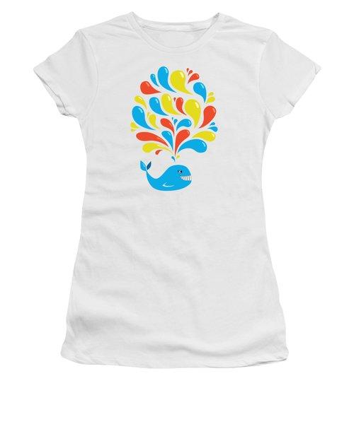 Colorful Swirls Happy Cartoon Whale Women's T-Shirt (Junior Cut) by Boriana Giormova
