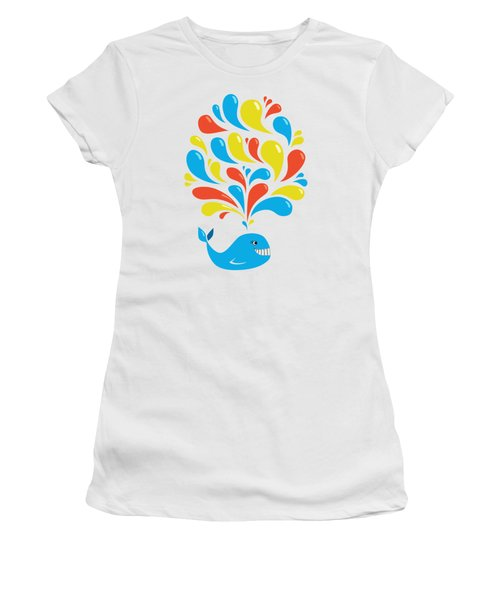 Colorful Swirls Happy Cartoon Whale Women's T-Shirt (Athletic Fit)