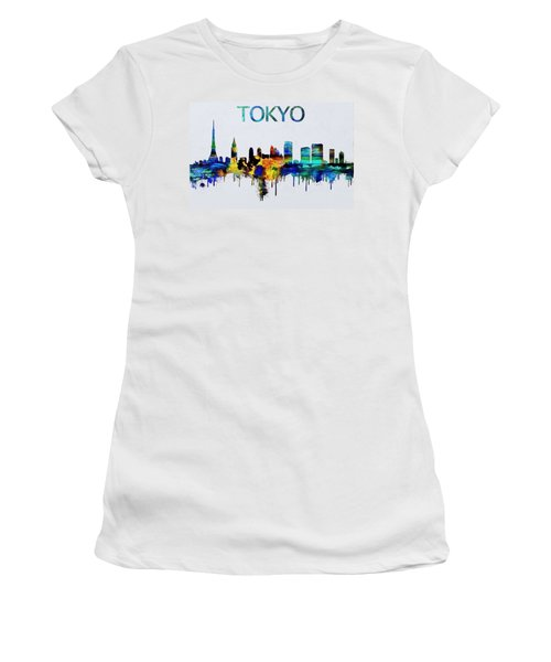 Colorful Tokyo Skyline Silhouette Women's T-Shirt (Junior Cut) by Dan Sproul