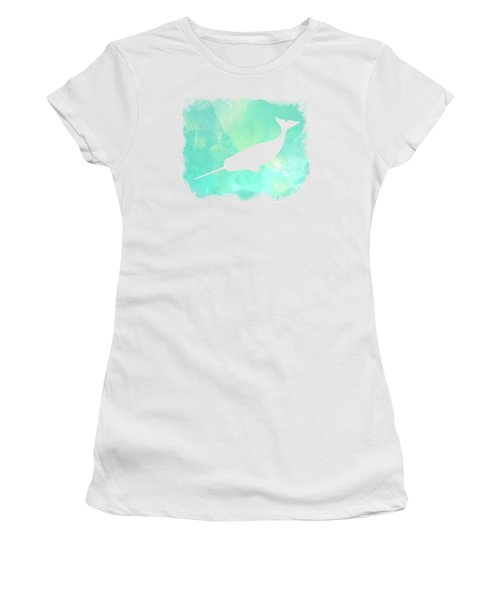 Colorful Watercolor Narwhal Sea Life Coastal Art Women's T-Shirt (Athletic Fit)