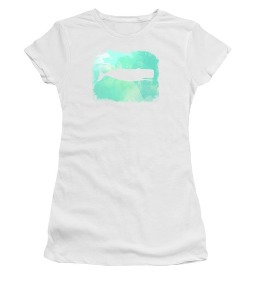 Colorful Watercolor Sperm Whale Sea Life Coastal Art Women's T-Shirt