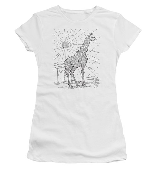 Coloring Page With Beautiful Giraffe Drawing By Megan Duncanson Women's T-Shirt (Junior Cut) by Megan Duncanson