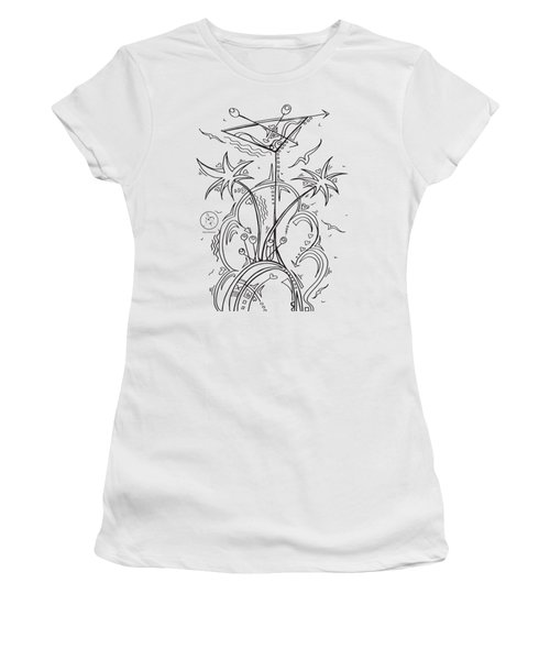 Coloring Page With Beautiful Tropical Martini Drawing By Megan Duncanson Women's T-Shirt (Junior Cut) by Megan Duncanson