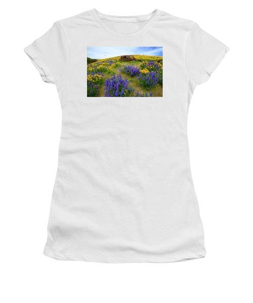 Columbia Hills Wildflowers Women's T-Shirt (Junior Cut) by Lynn Hopwood