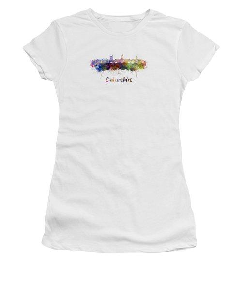 Columbia Mo Skyline In Watercolor Women's T-Shirt