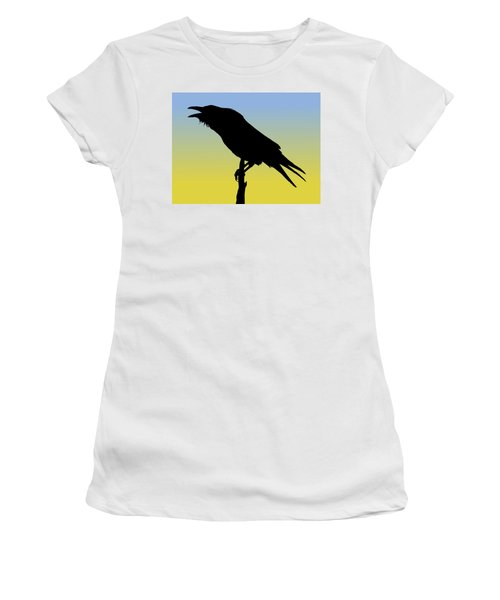 Common Raven Silhouette At Sunrise Women's T-Shirt (Athletic Fit)