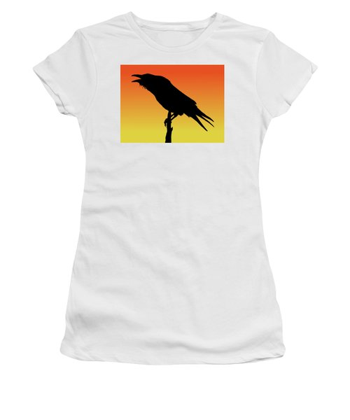 Common Raven Silhouette At Sunset Women's T-Shirt (Athletic Fit)