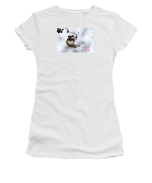 Women's T-Shirt (Junior Cut) featuring the photograph Common Redpoll Christmas Card by Gary Hall