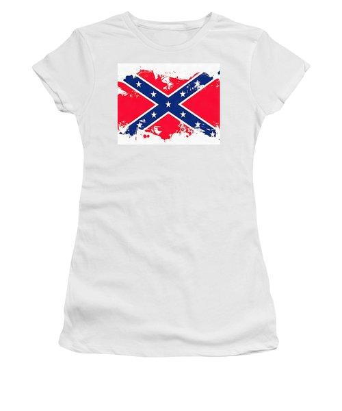 Confederate Flag Paint Splatter Women's T-Shirt