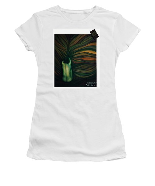 Women's T-Shirt (Junior Cut) featuring the painting Confused by Fei A