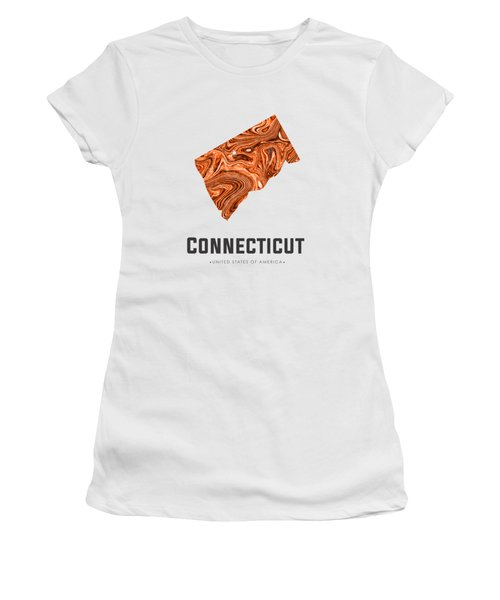Connecticut Map Art Abstract In Brown Women's T-Shirt