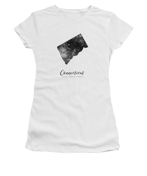 Connecticut State Map Art - Grunge Silhouette Women's T-Shirt