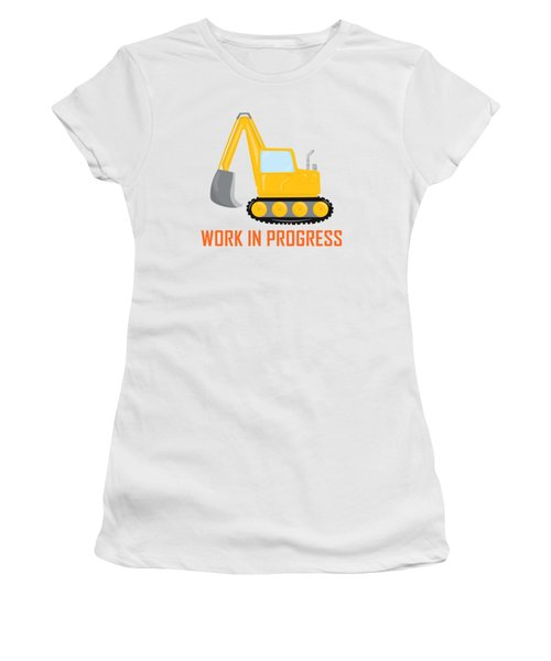 Construction Zone - Excavator Work In Progress Gifts - White Background Women's T-Shirt (Athletic Fit)