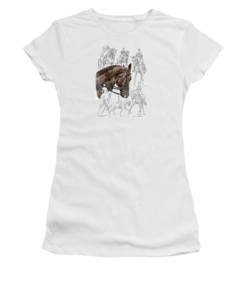 Contemplating Collection - Dressage Horse Print Color Tinted Women's T-Shirt (Athletic Fit)