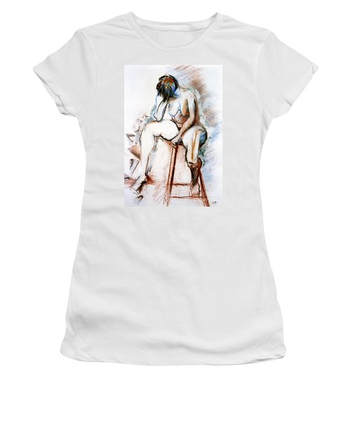Contemplation - Nude On A Stool Women's T-Shirt (Athletic Fit)
