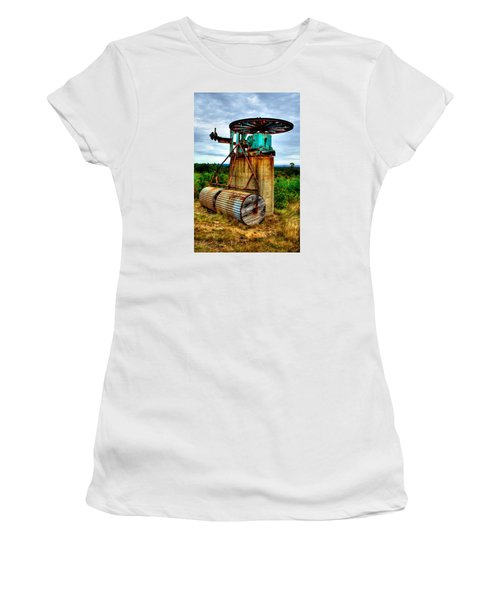 Contraption On Mt Agamenticus Women's T-Shirt (Junior Cut) by Richard Ortolano