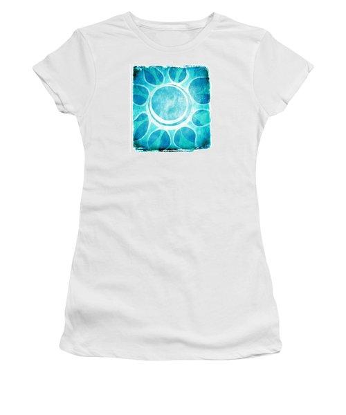 Women's T-Shirt (Junior Cut) featuring the digital art Cool Blue Flower by Lenny Carter