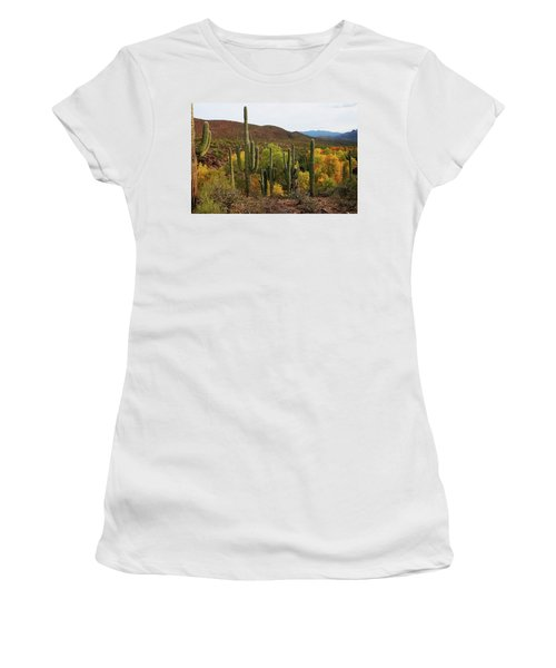 Coon Creek With Saguaros And Cottonwood, Ash, Sycamore Trees With Fall Colors Women's T-Shirt (Junior Cut) by Tom Janca