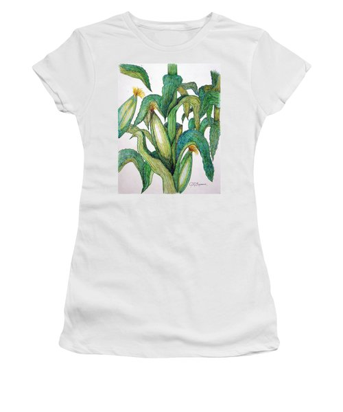 Corn And Stalk Women's T-Shirt (Junior Cut) by J R Seymour
