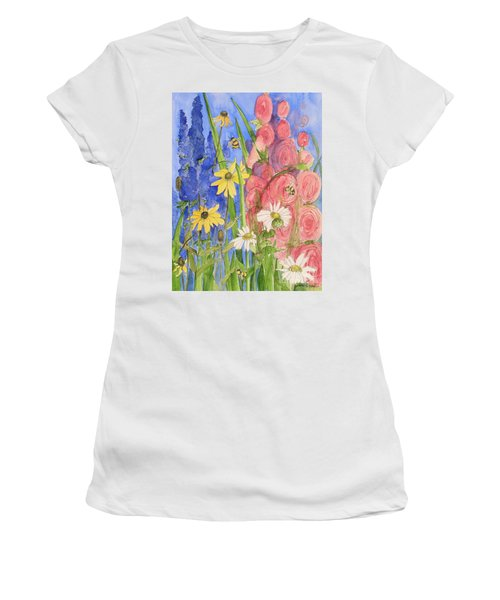 Women's T-Shirt (Athletic Fit) featuring the painting Cottage Garden Daisies And Blue Skies by Laurie Rohner